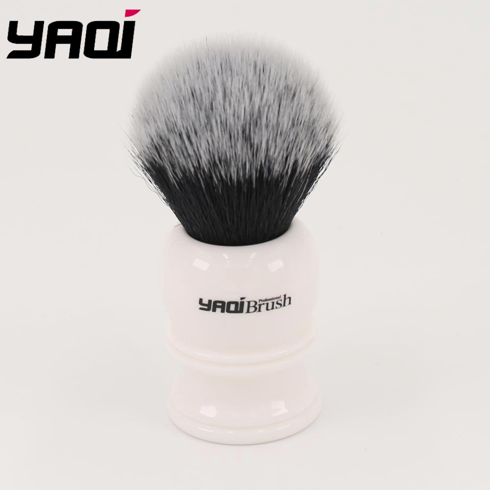 Yaqi 30mm Large Size Knot White Resin Handle Synthetic Hair Tuxedo Knot Men Shaving Brush