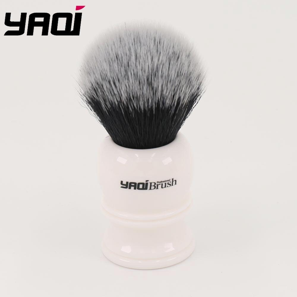 Yaqi 30mm Large Size Knot White Resin Handle Synthetic Hair Tuxedo Knot Men Shaving Brush
