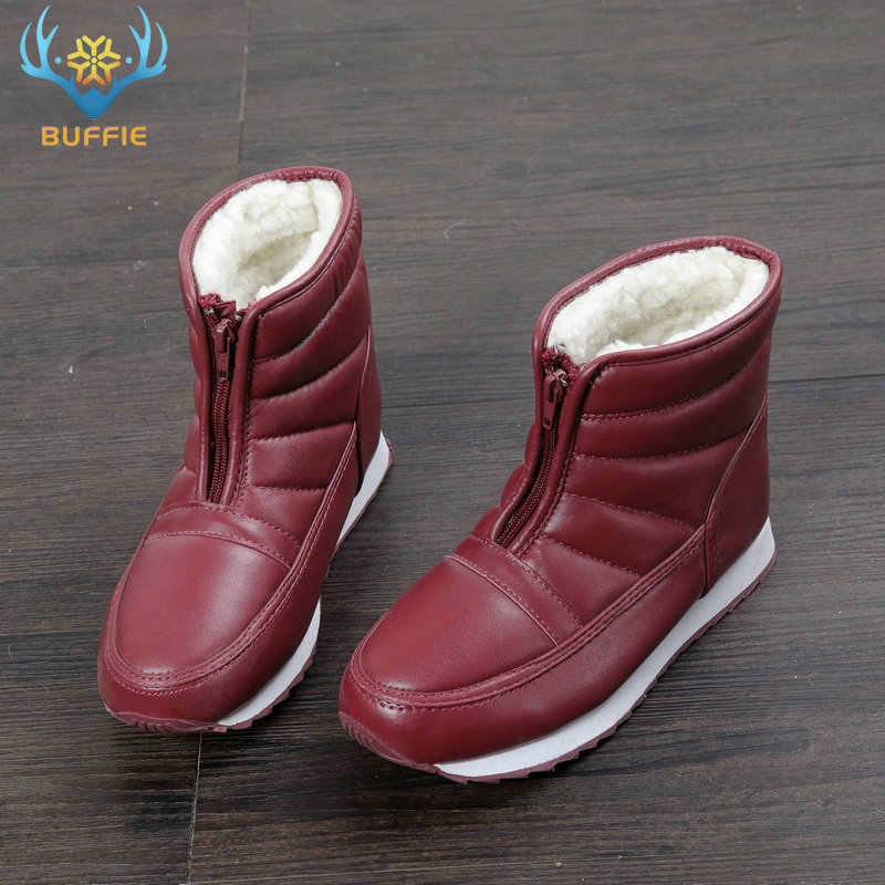 Warm women snow boots light weight zipper shoes easy wearing antiskid rubber soles home thermal boot comfortable waterproof