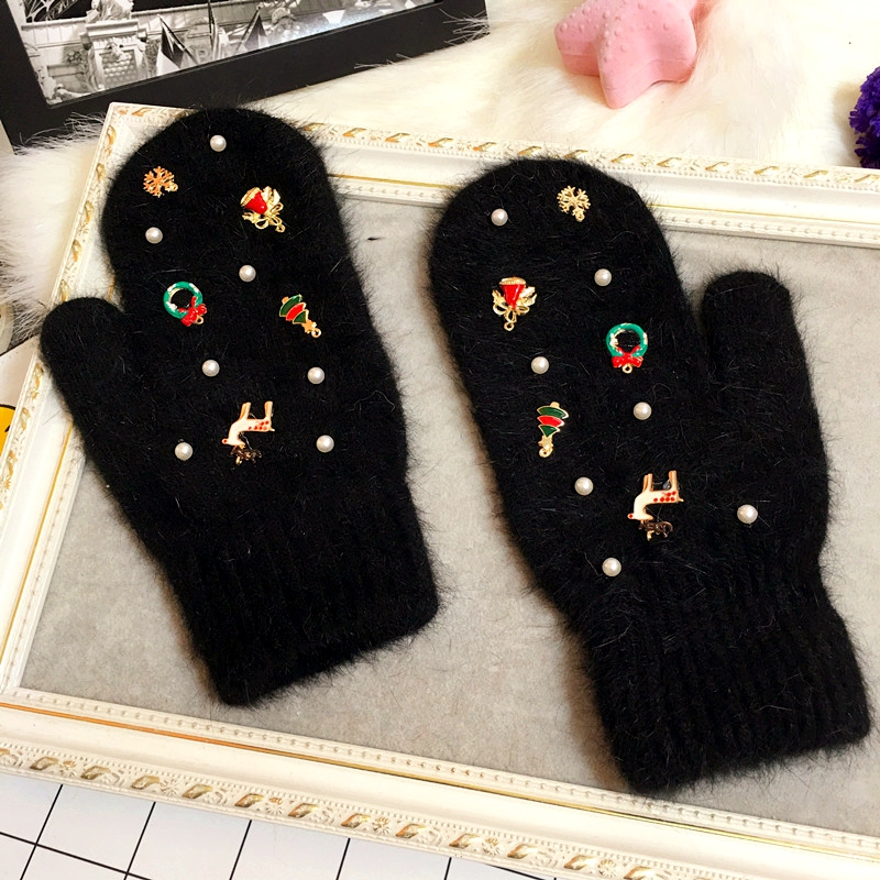 Merry Christmas Gift Women Winter Gloves Fashion Ornaments Knit Gloves Rabbit Fur Gloves Color Fur Gloves Female