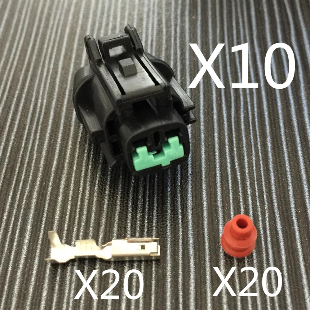 Black 2pins car waterproof auto connectors (green clip) female, including terminals and  ...