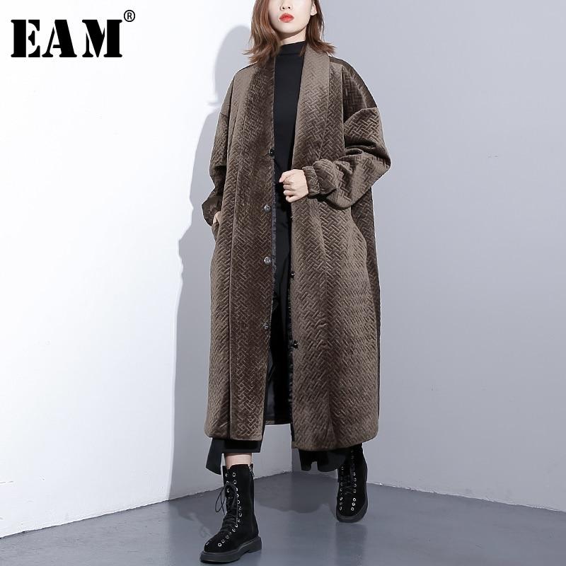 [EAM] 2018 Nouvelle Automne Hiver Revers Manches Longues Noir Lâche Grande Taille Coton-rembourré Chaud Long Manteau femmes De Mode Marée JI392