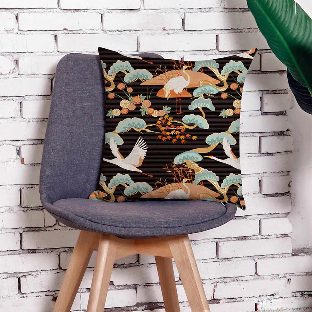 زهرة رافعة عنصر الطباعة الصيف غطاء الوسادة البوليستر ل مقعد أريكة لينة المنزل الديكور 45x45 سنتيمتر الكتان المخدة # p4