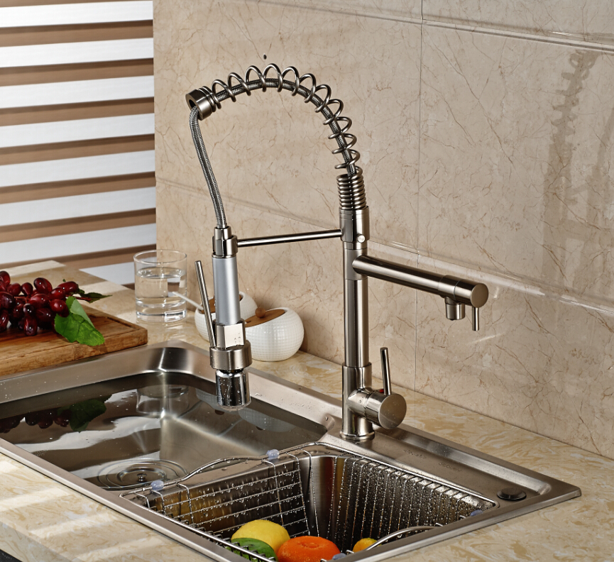 Luxury Brushed Nickel LED Spout Spring Kitchen Faucet Single Handle Hole Vessel Sink Mixer Tap Hot and Cold Water цена и фото