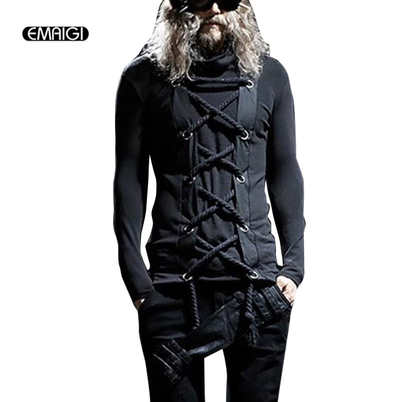 Men Punk Rock Gothic Style Tees Shirts Male Long Sleeve Fashion Slim Fit T Shirt Spring Autumn Tshirt Stage Costumes