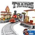 Ausini 25811 bloques de construcción de la estación de tren de tren de 462 partículas bringuedos tren ladrillos bloques de los niños juguetes educativos diy