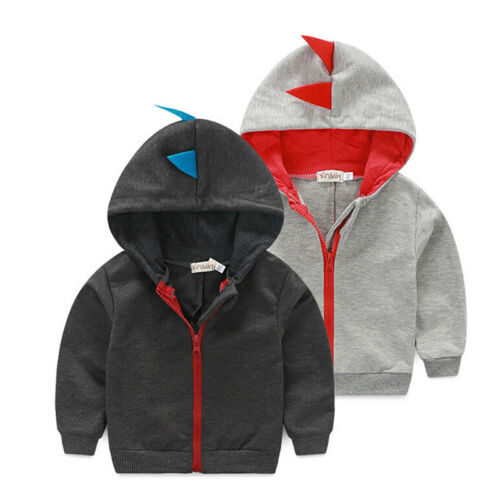 Outwear Coat Jacket Baby Infant Hoodie Cartoon New Boy Zipper Kid Tops Dinosaur 0-3Y