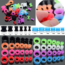 Wholesale 12Pcs/lot Silicone Ear Stretcher Expander Plugs and Tunnels Piercing Body Jewelry Tragus Lot