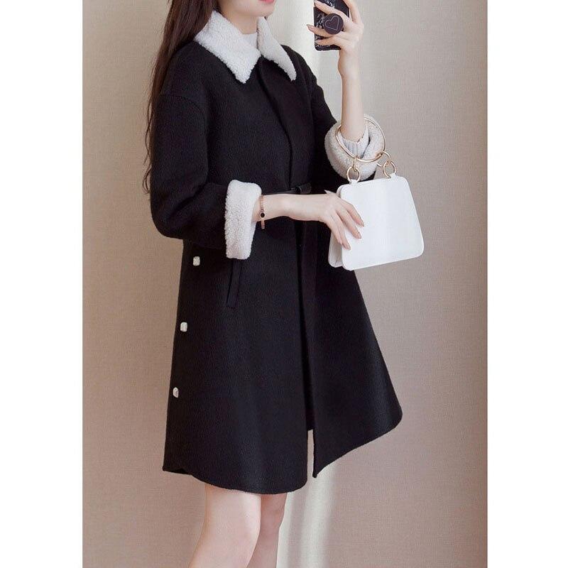 De Femmes Mode Veste Black Manteau Laine D'hiver Coréenne Version Lâche Longue Femme rqITr5wRUf