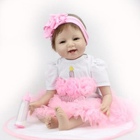 55cm Reborn Baby Doll With Pink Candle Dress And Pacifier Birthday Xmas Gift For Girl