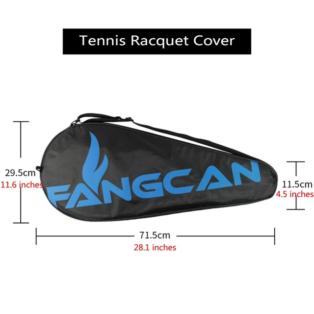 FANGCAN Single Tennis Racquet Cover Black Tennis Racket Bag with Adjustable Shoulder Strap