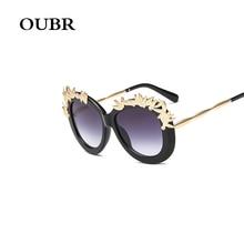 Trend brand metal flower craft design sunglasses ladies fashion round sunglasses retro transparent lens UV400 glasses