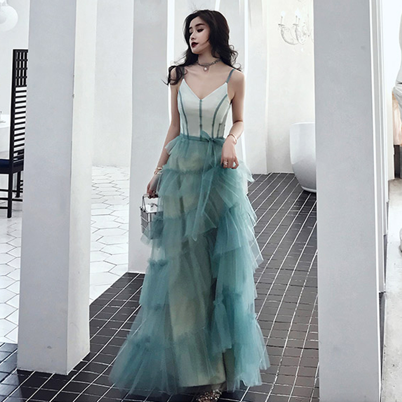 Prom Dress Sexy Sling V-neck Vestidos De Gala Tiered Women Party Night Dresses 2019 Plus Size Sleeveless Elegant Prom Gowns E682