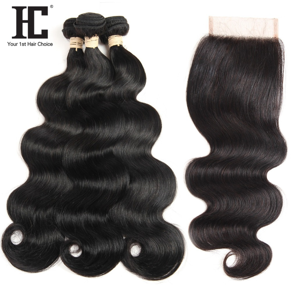 HC Brazilian Body Wave Hair With 4x4 Closure 3 Bundles With Lace Closure Non Remy Human Hair Weave Bundles With Closure Dyeable