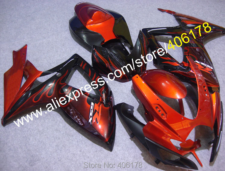 Hot Sales,Fairings body Kit For SUZUKI 2006 2007 GSXR 600 750 K6 GSXR600 GSXR750 06 07 Red Flame fairing kit (Injection molding) new motorcycle ram air intake tube duct for suzuki gsxr600 gsxr750 2006 2007 k6 abs plastic black