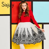Sisjuly Vintage Dress 1950s Patchwork Spring Red White O Neck Party Elegant Dresses Embroidery A Line