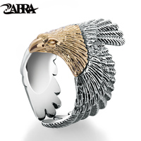ZABRA Real Solid 925 Sterling Silver Eagle Gold Color Head Ring For Women Men Vintage Steampunk Retro Cool Ring Gift Men Jewelry