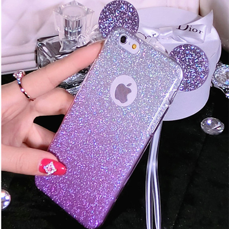 3D Glitter Minnie Mickey Mouse Ears Soft TPU Case For