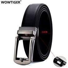 WOWTIGER-Correa de cuero genuino para hombre, cinturón automático de 3cm de ancho, de diseñador de lujo, con hebilla de Linxx abierta