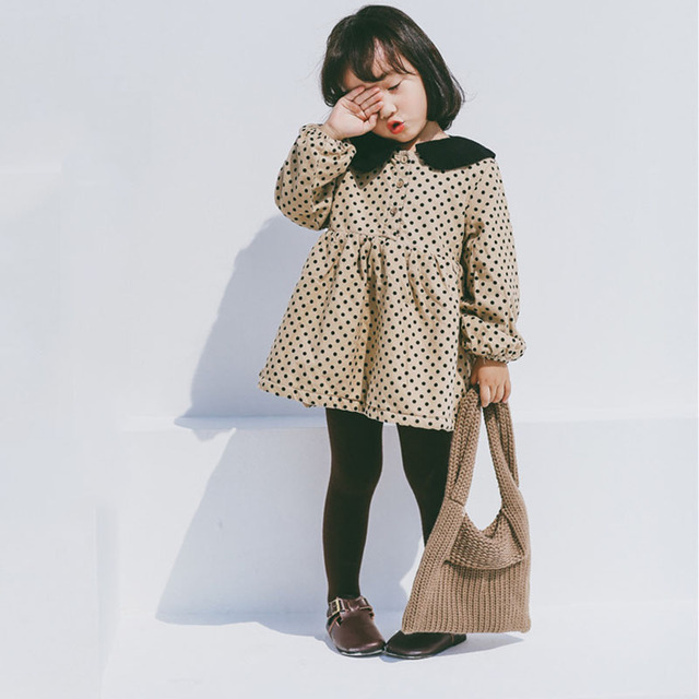 26574fcd30e0 Little Children Dress Autumn Baby Girls Dot Printed Princess Party ...