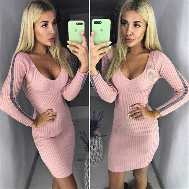 Women's Knit Dress Fashion V-neck Bag Hip Sexy Knit Long Sleeve Dress Female