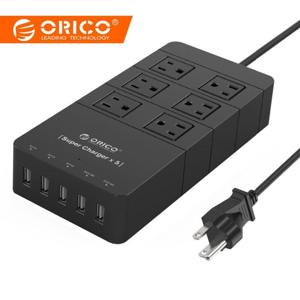 ORICO HPC-6A5U-US-BK Protection Contre Les Surtensions Puissance Socket avec 5 Port 40 W chargeur usb pour Ipad Iphone (Noir)