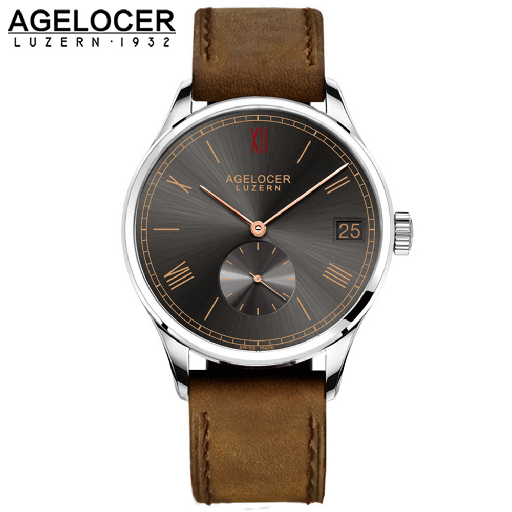 Agelocer Brown Watch Swiss Mechanical Timepiece Sport Mens Casual Wristwatches With France Leather Watch Strap Big Date Window oulm brand mens rectangle leather strap hand wind mechanical watch fashion casual wristwatches with gift box relogio releges
