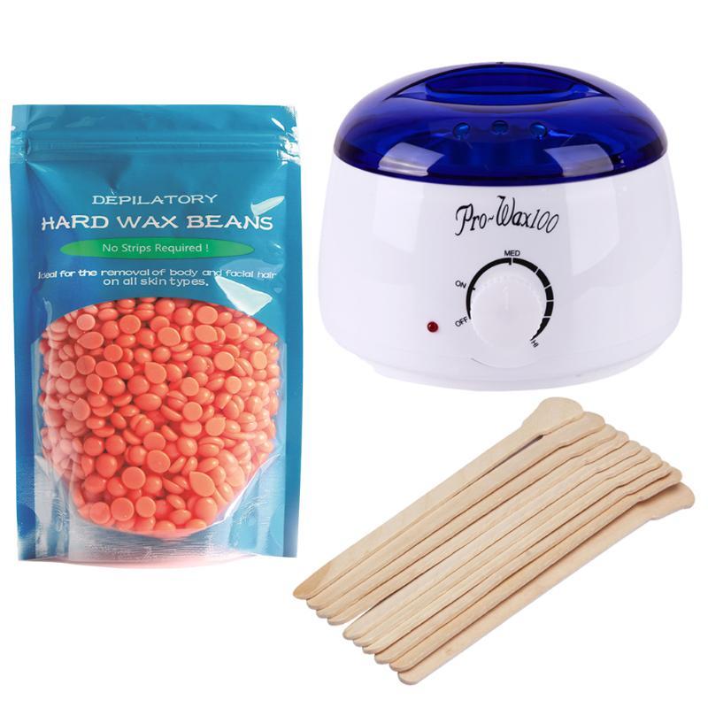Wax Heater Machine Waxing Warmer 100g Wax Beans With Sticks Hair Removal Sets US EU Plug Bikini Hair Removal Hot Wax Heater eseewigs 100g pc 1 3 hair bundle with closure