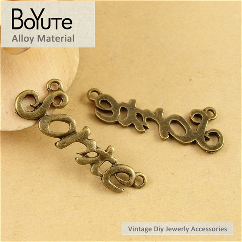 BoYuTe (50 Pieces/Lot) 13*39MM Antique Bronze Plated Zinc Alloy Word Plated Sorte Diy Connector Jewelry Findings