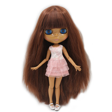 Factory Neo Blythe Doll Deep Brown Hair Jointed Body 30cm