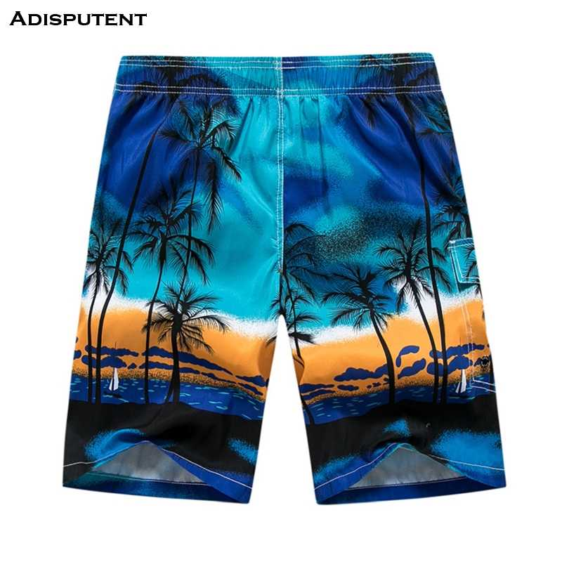 Adisputent  Summer Men Trunk Coconut Tree Print Casual Shorts Quick-Dry Board Shorts Surf Wear Size M-6XL Loose Swimsuit