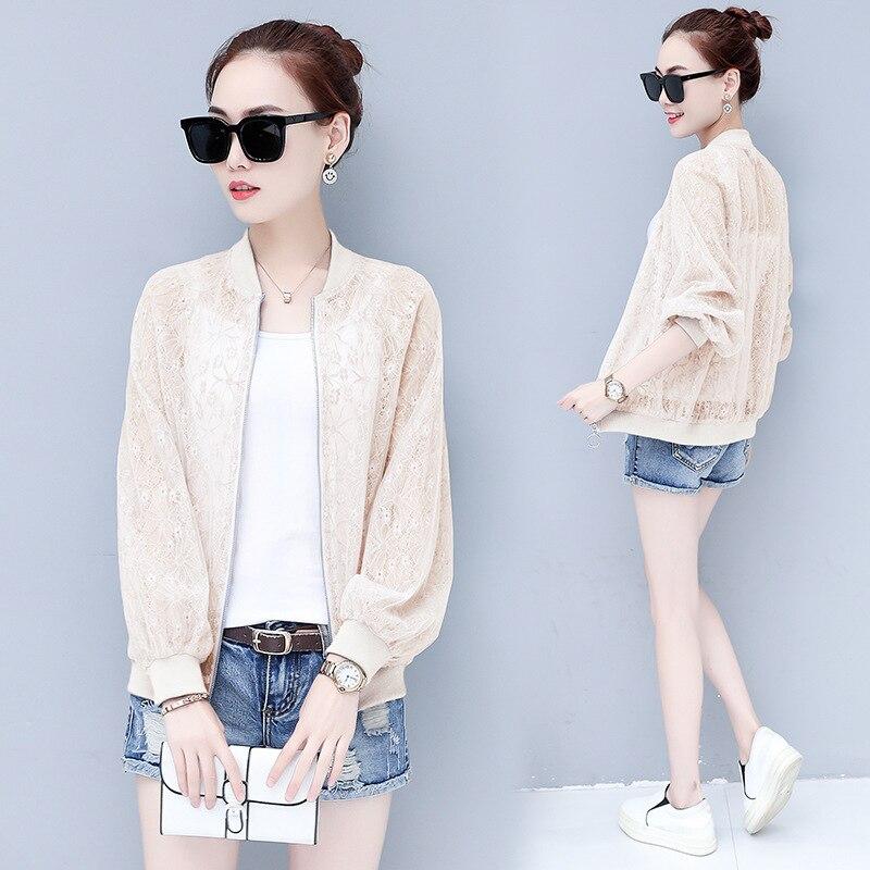 #3540 Summer White Sunscreen Clothes Korean Split Joint Lace Fashion Short Loose Coat Women See Through Jacket Harajuku XXXL