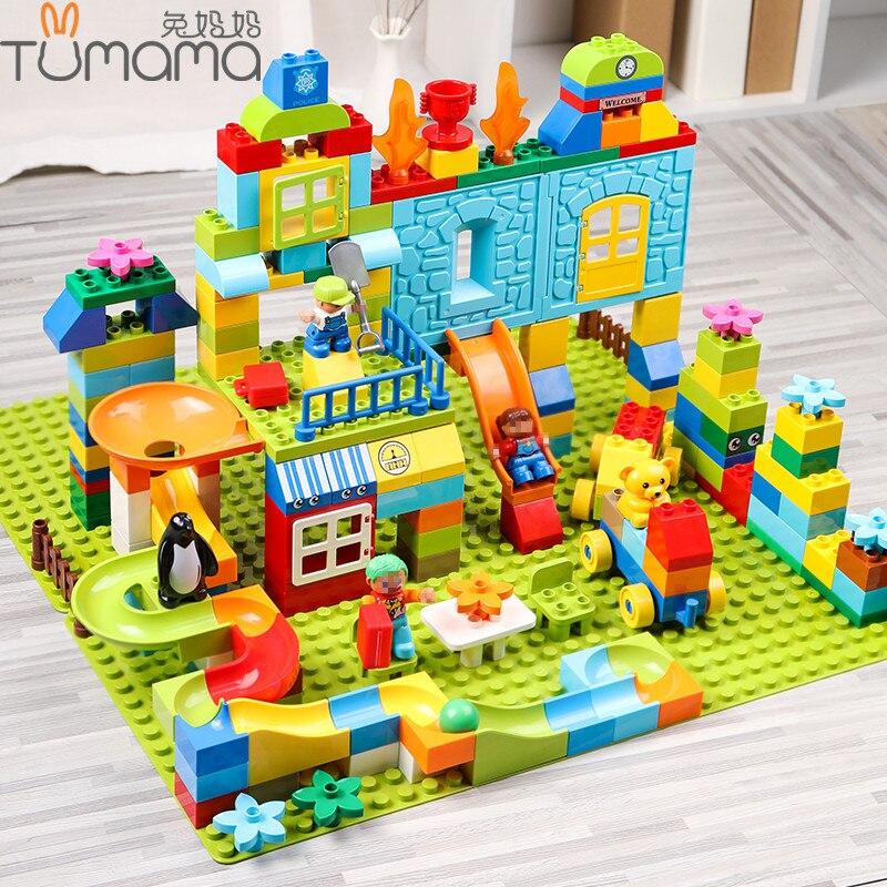 Große Größe Bausteine 160-211 stücke Amusement Park Marmor Run Modell Gebäude Spielzeug Kinder Pädagogisches Spielzeug Kompatibel Legoed duploed