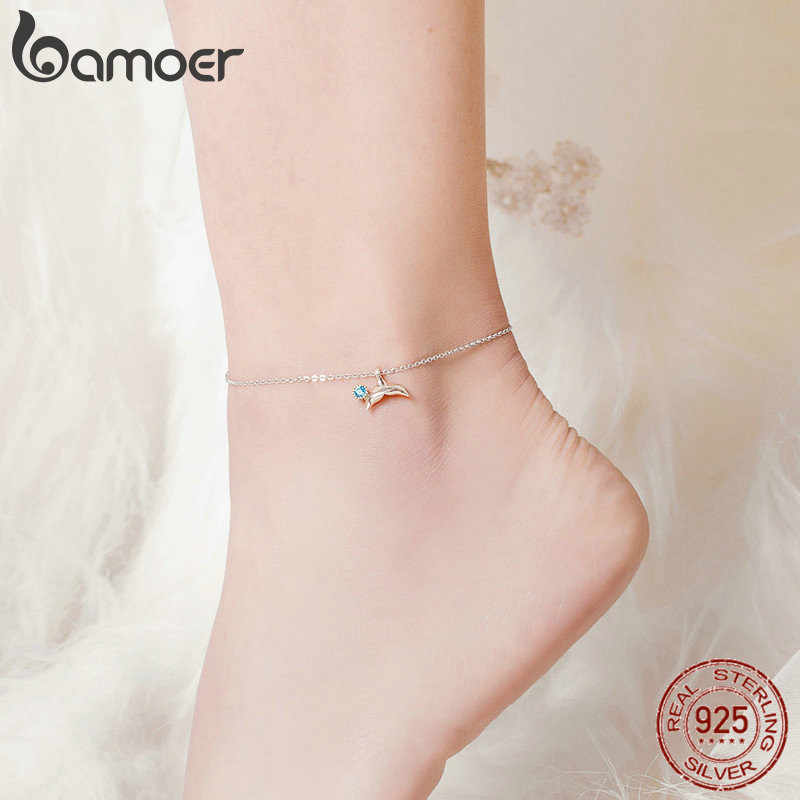 bamoer Blue Ocean Mermaid Bracelet for Ankle 925 Sterling Silver Fish Tail Foot Anklets Bracelets Jewery for Leg SCT004
