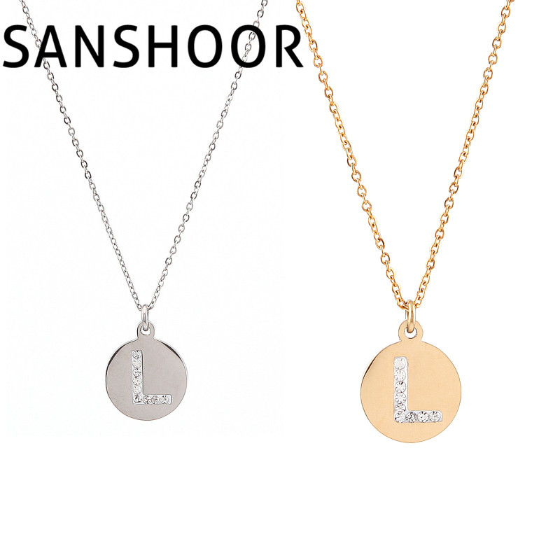 1pcs high quality stainless steel initial necklace discs charm l letter friendship necklacce set for women gift