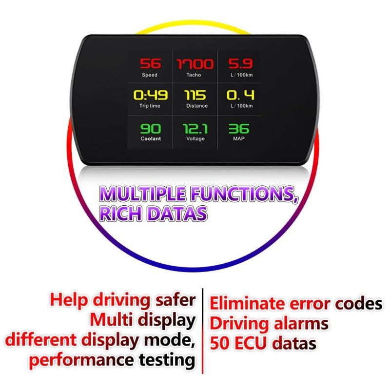 2019 OBD Hud GPS affichage tête haute numérique voiture vitesse projecteur ordinateur de bord OBD2 compteur de vitesse Code d'erreur clair