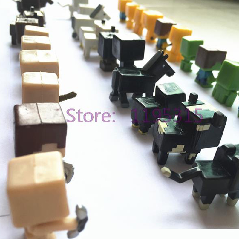 36pcs/set Minecrafted More Characters Hanger Creeper Action Figure Toys Cute 3d Minecrafted Models Games Collection Toys Action & Toy Figures