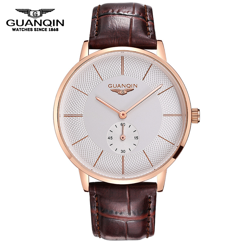 Watch Men GUANQIN Luxury Fashion Casual Big Dial Quartz Watch Male Leather Watchbands Waterproof Relogio Masculino Montre Homme mens stainless steel band watch with big round dial male analog quartz metal sports wristwatch relogio masculino montre homme