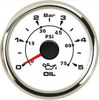 Pacote de 1 novos calibres de pressão de óleo da chegada 52mm 0-5bar medidor de pressão de óleo automático 0-75psi preto 8 tipos luz de fundo