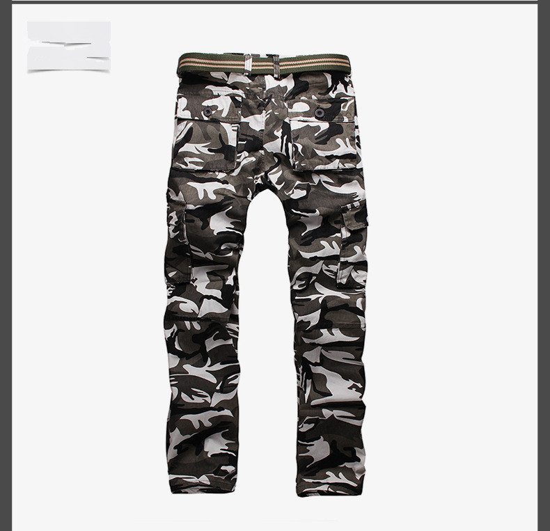 ФОТО 2016 New Camouflage Men Trousers multi Pocket Decorated Slim Straight Pants Street Style Men Trousers Plus Size Casual Trousers