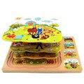 Bebê dos desenhos animados Puzzle Brinquedos Set 3 Camada De Madeira Puzzles Educação Brinquedo Fazenda Brinquedos Para Crianças Brinquedos Clássicos