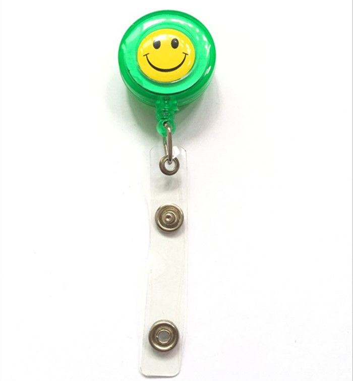 1pcs Green Color Smile Face Retractable Badge Reel With Alligator Clip For ID Card Badge Holder Name Tag