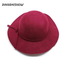 DINGDNSHOW  Fashion Fedora Hat Children Wool Soft Wide Brim Winter Cap  Sombreros Warm Felt 38f68a1dd72d