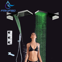 Groothandel En Retail Promotie LED Luxe Waterval Regendouche Douchekraan Thermostatische 4 Manieren Mixer
