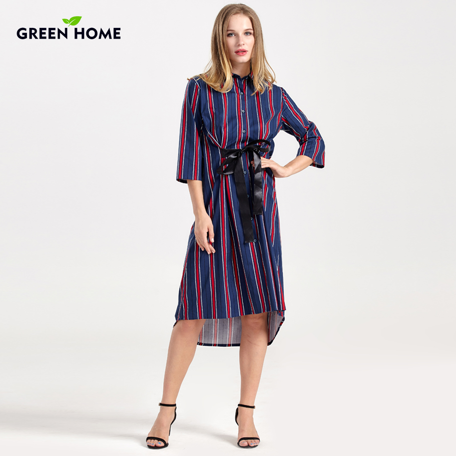 Green Home Spring Striped Pregnancy Dress Asymmetry Button Pregnant Long Dress Maternity Dresses Formal Maternity Clothing