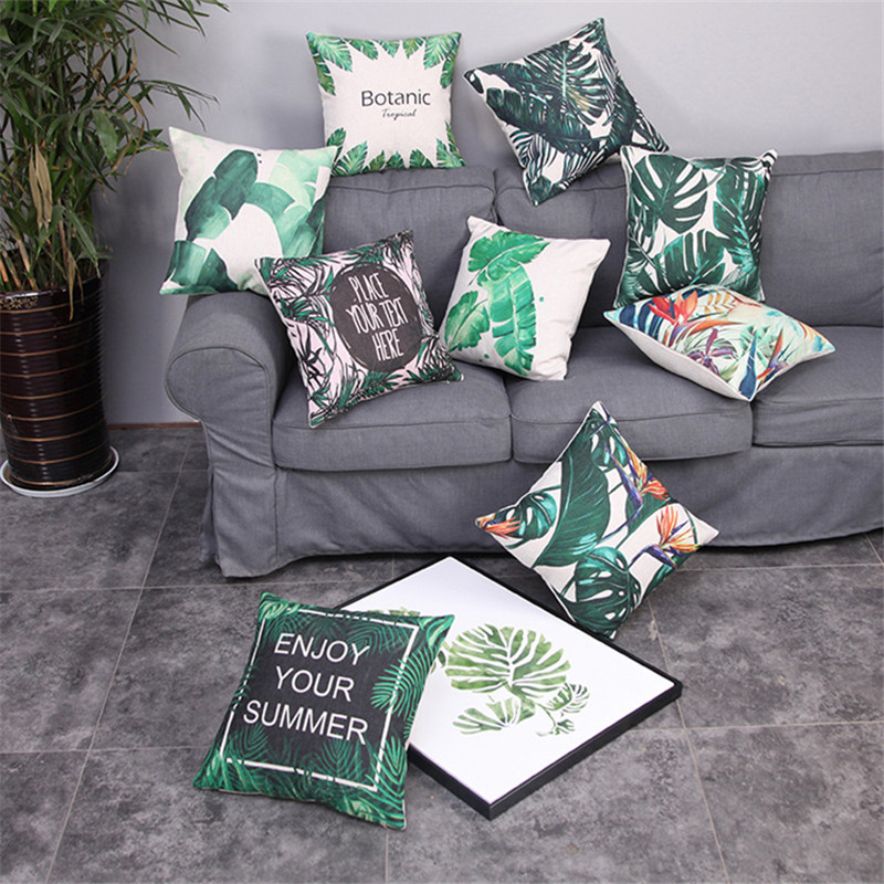 Nordic Cushion Cover Green Tropical Plants Iron Leaves