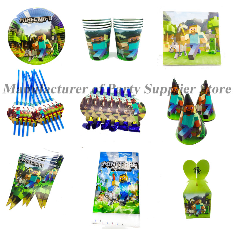 Minecraft Themed Disposable Party Tableware Set Minecraft Theme Disposable Plates Cups Napkins Minecraft Cups Straws