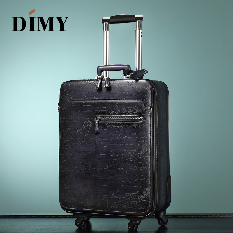DIMY Leather Trolley Case Male Business Suitcase Female Leather Suitcase Universal Wheel Password Boarding 22 Inch Soft Suitcase