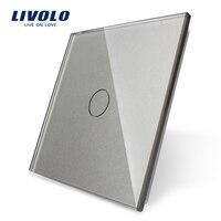 Livolo Роскошный белый жемчуг кристалл стекло, ЕС стандартный, один стекло панель для 1 Gang стены сенсорный выключатель, VL-C7-C1-11 (4 цвета)
