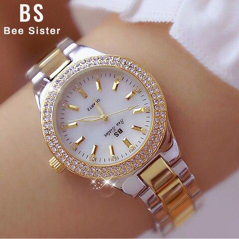 2019 Ladies Wrist Watches Dress Gold Watch Women Crystal Diamond Watches Stainless Steel Silver Clock Women Montre Femme 2018 Pakistan